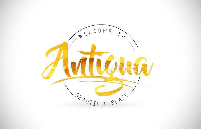 Accueil de l'Antigua pour exprimer le texte avec la police manuscrite et le Te d'or illustration de vecteur