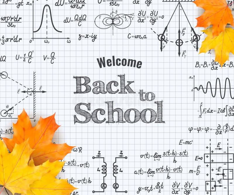 Accueil de nouveau à l'école avec la formule dans le carnet illustration stock