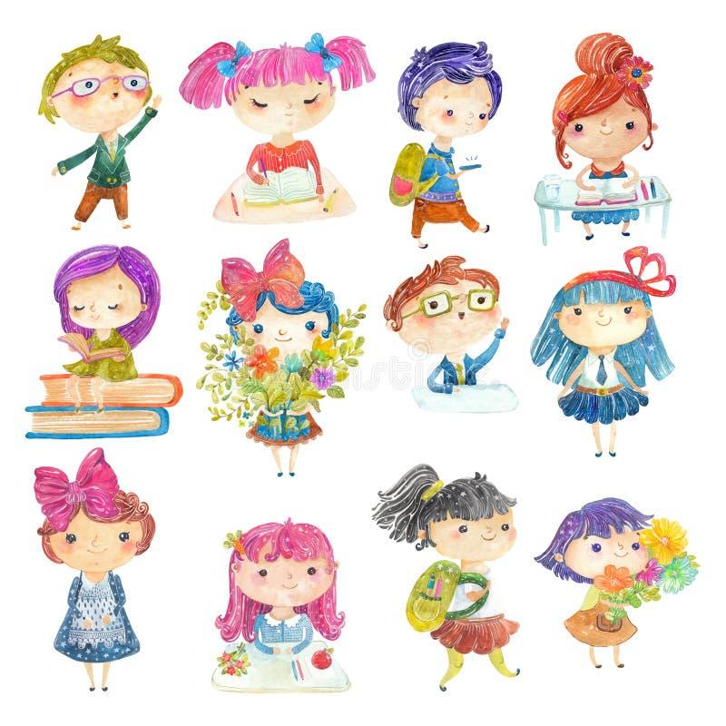 Accueil de nouveau à l'école ! Enfants mignons d'école d'aquarelle illustration libre de droits