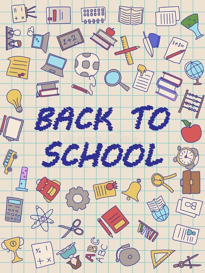 Accueil de nouveau à l'affiche d'école avec des griffonnages, bons pour la conception de tissu de textile, le papier d'emballage  photos stock
