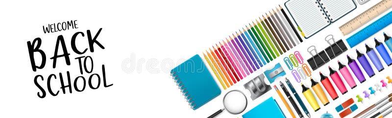 Accueil de nouveau à la bannière d'école avec les approvisionnements colorés illustration de vecteur