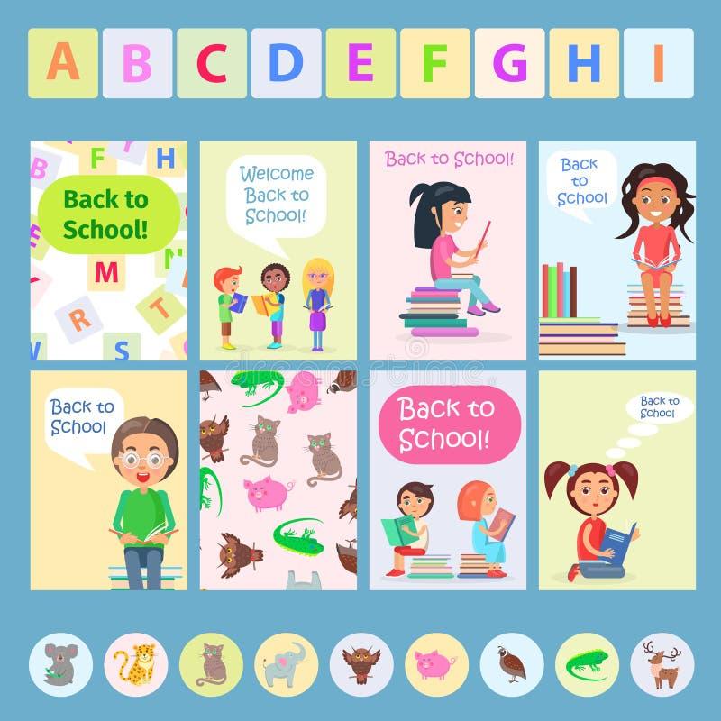 Accueil de nouveau à la carte d'école avec des enfants de lecture illustration stock