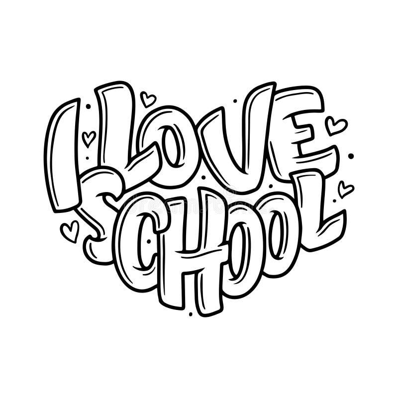 Accueil de nouveau à la citation de lettrage d'école De nouveau à l'étiquette de vente d'école Insignes tirés par la main de lett illustration stock