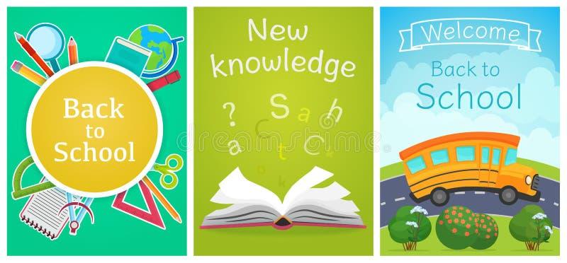 Accueil de nouveau au calibre de concept d'école Équipement d'école, autobus sur la route et livre avec des lettres Collection de illustration de vecteur