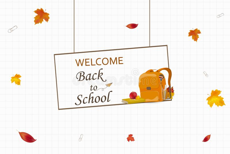 Accueil de nouveau au concept d'école Sac à dos d'école de bande dessinée avec la papeterie d'école, approvisionnements d'éducati illustration stock