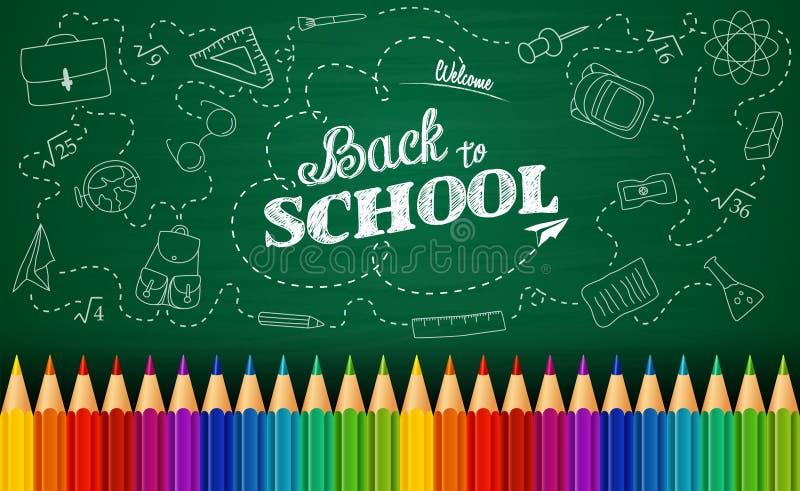 Accueil de nouveau au fond d'école avec des éléments de griffonnage sur le tableau et les crayons colorés illustration stock