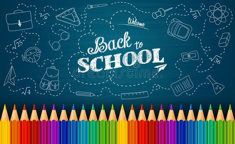 Accueil de nouveau au fond d'école avec des éléments de griffonnage sur le tableau et les crayons colorés illustration libre de droits