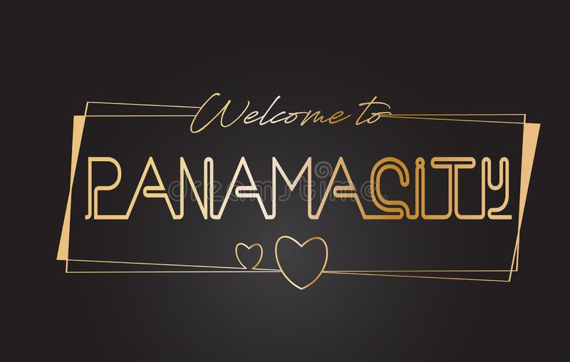 Accueil de Panamá City à l'illustration de inscription au néon de vecteur de typographie des textes d'or illustration de vecteur