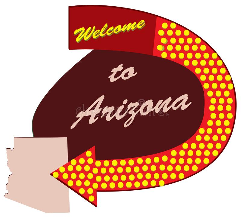 Accueil de panneau routier vers l'Arizona illustration libre de droits