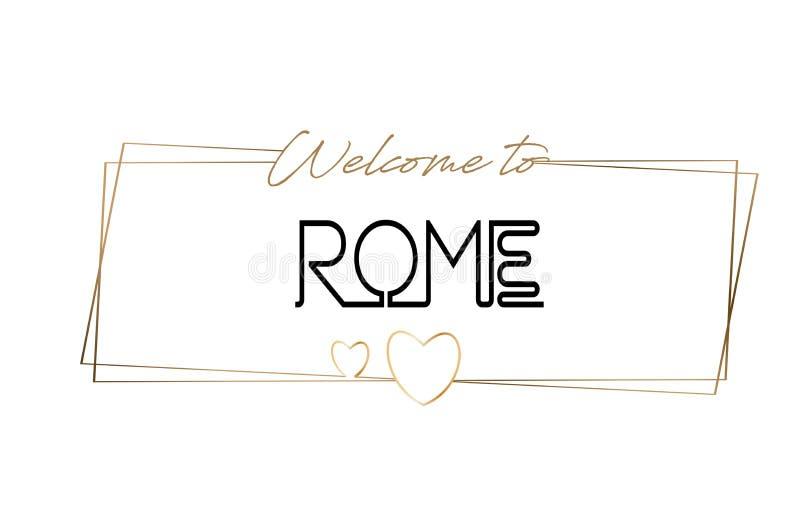 Accueil de Rome pour textoter la typographie de inscription au néon Word pour le logotype, insigne, icône, carte postale, logo, i illustration libre de droits