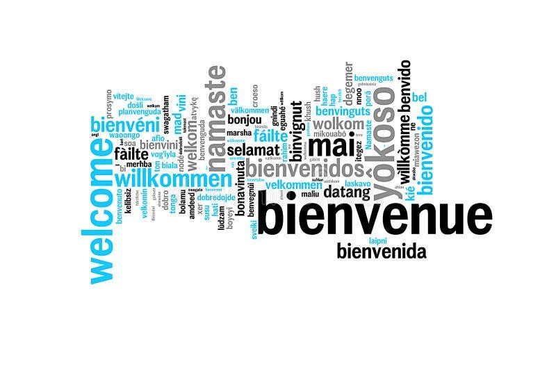 Accueil de Word traduit dans beaucoup de langues illustration de vecteur