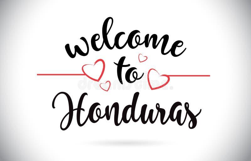 Accueil du Honduras au texte de vecteur de message avec les coeurs rouges d'amour malades illustration de vecteur