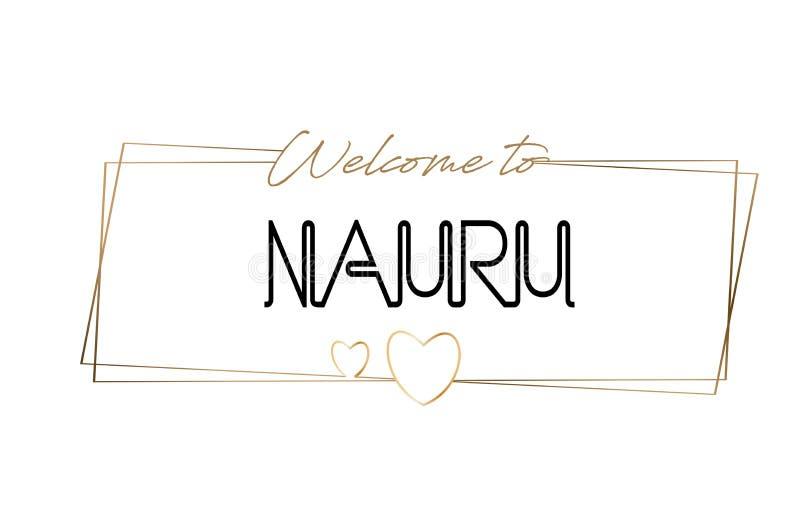Accueil du Nauru pour textoter la typographie de inscription au néon Word pour le logotype, insigne, icône, carte postale, logo,  illustration de vecteur