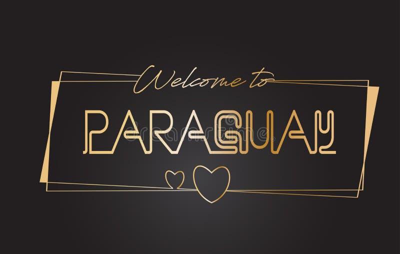 Accueil du Paraguay à l'illustration de inscription au néon de vecteur de typographie des textes d'or illustration stock