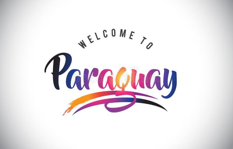 Accueil du Paraguay au message dans des couleurs modernes vibrantes pourpres illustration de vecteur