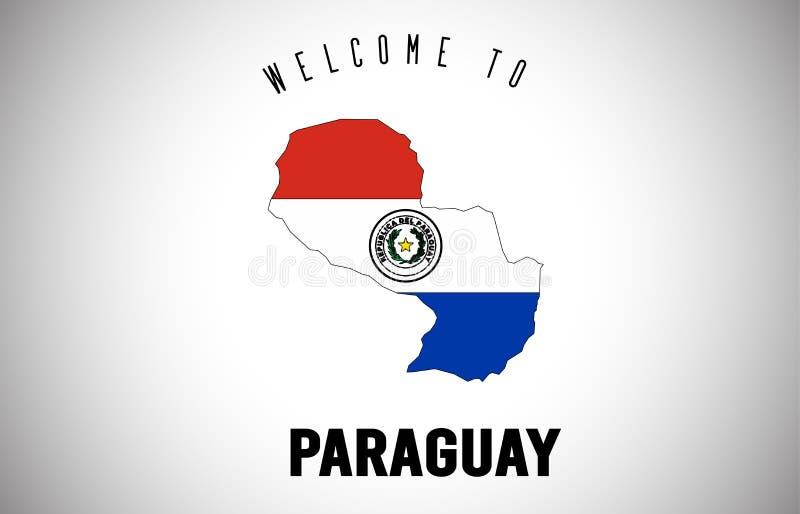 Accueil du Paraguay drapeau à texte et de pays à l'intérieur de conception de vecteur de carte de frontière de pays illustration stock