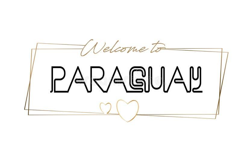 Accueil du Paraguay pour textoter la typographie de inscription au néon Word pour le logotype, insigne, icône, carte postale, log illustration de vecteur