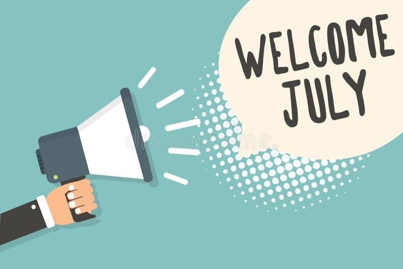 Accueil juillet des textes d'écriture Participation d'homme de saison de troisième trimestre du mois 31days de calendrier de sign illustration libre de droits
