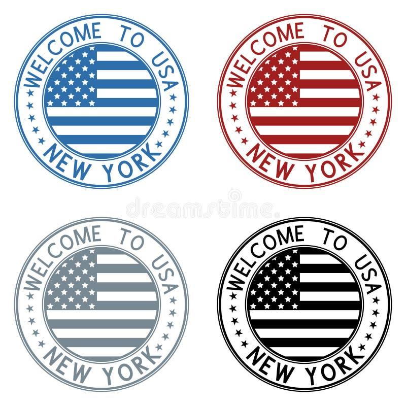 Accueil timbre de voyage vers New York, Etats-Unis Collection colorée illustration stock