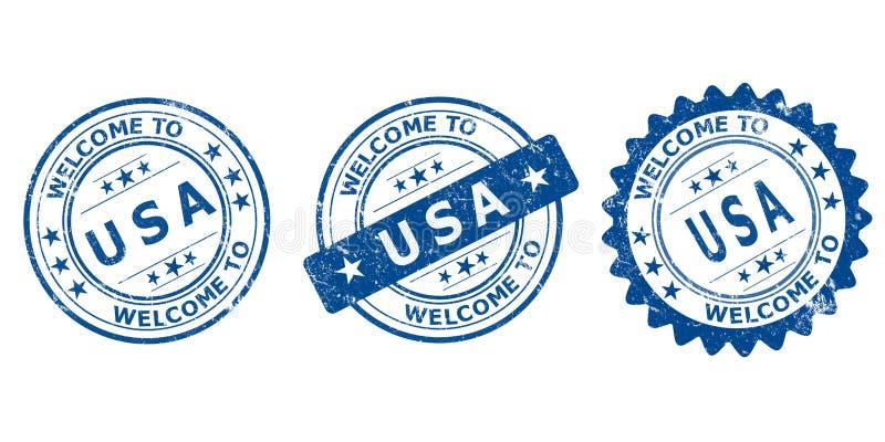 Accueil vente bleue de timbre des Etats-Unis à la vieille illustration de vecteur
