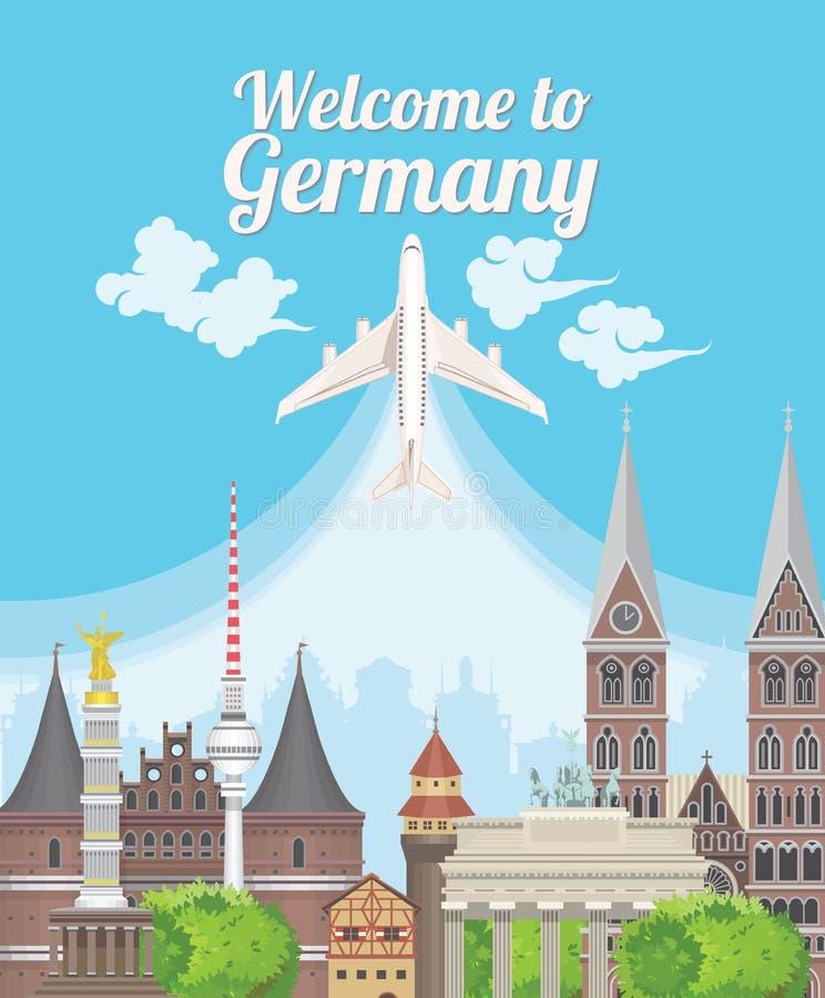 Accueil vers l'Allemagne Points de repère d'Allemand de voyage illustration stock