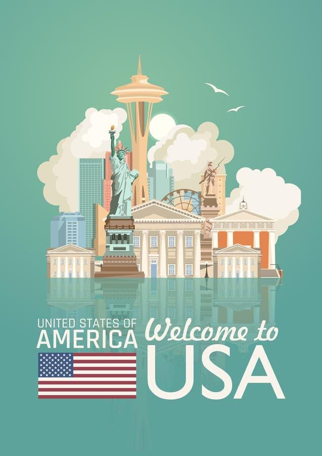 Accueil vers les Etats-Unis Affiche des Etats-Unis d'Amérique avec des sightseeings américains avec l'effet de miroir Illustratio illustration stock