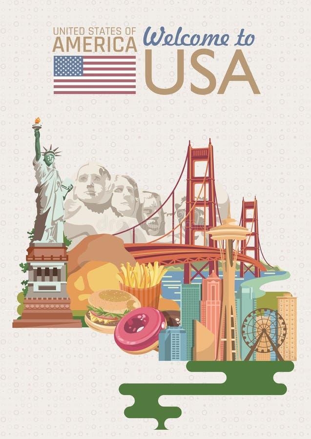 Accueil vers les Etats-Unis Affiche des Etats-Unis d'Amérique avec des sightseeings américains dans le rétro style Illustration d illustration libre de droits