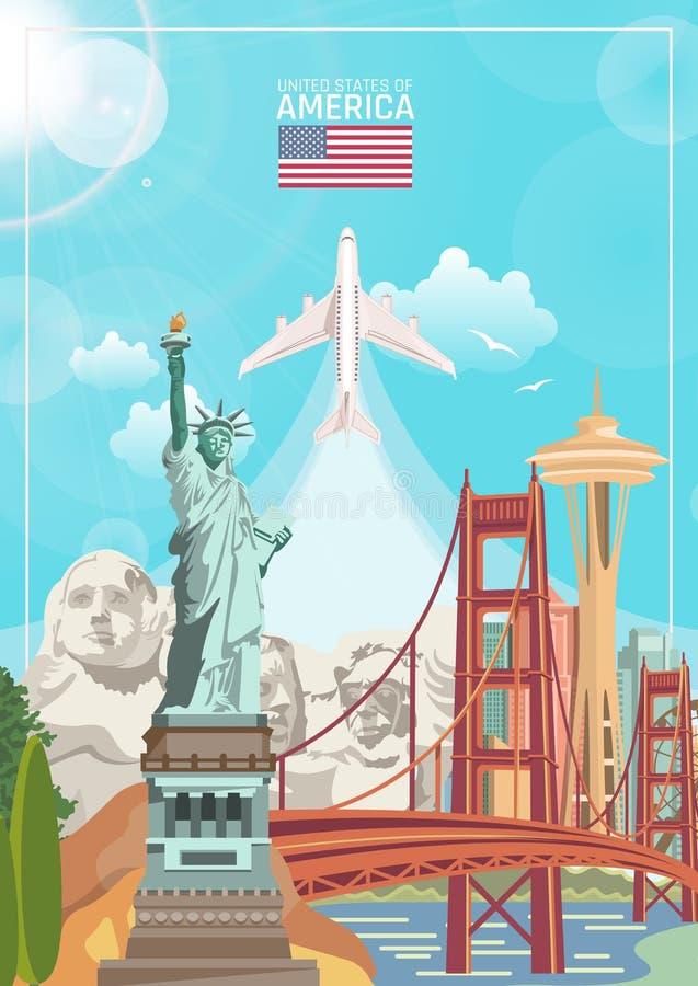 Accueil vers les Etats-Unis Affiche des Etats-Unis d'Amérique avec les sightseeings et l'avion américains Illustration de vecteur illustration stock