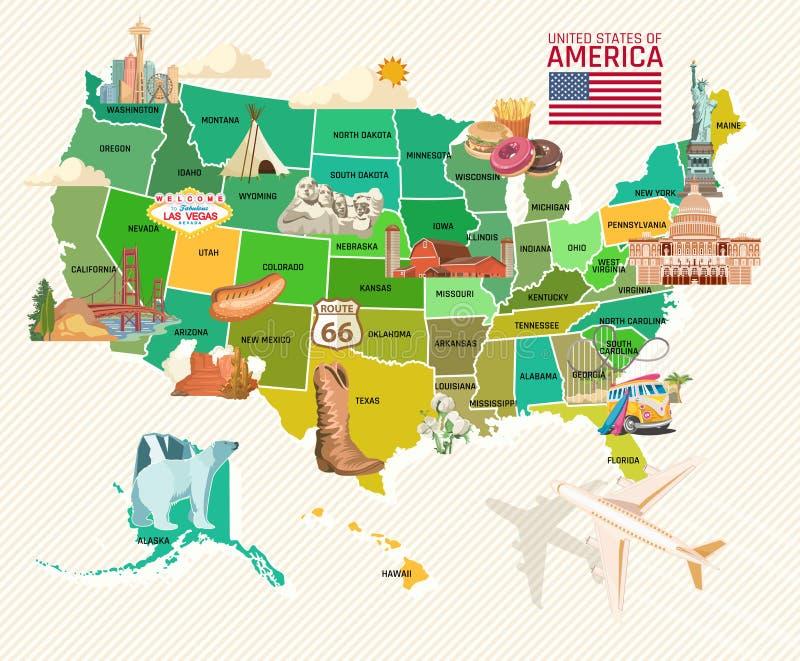 Accueil vers les Etats-Unis Affiche des Etats-Unis d'Amérique Illustration de vecteur au sujet de voyage illustration stock