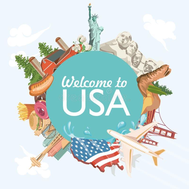 Accueil vers les Etats-Unis Carte de voeux des Etats-Unis d'Amérique avec la forme de cercle Illustration de vecteur au sujet de  illustration stock