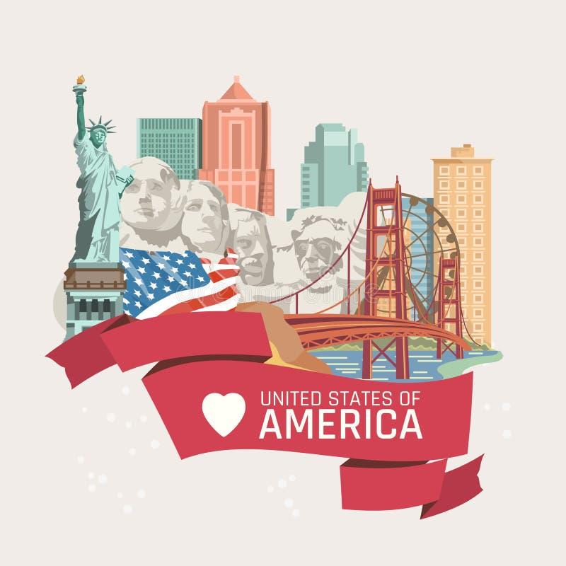 Accueil vers les Etats-Unis Carte de voeux des Etats-Unis d'Amérique Illustration de vecteur au sujet de voyage illustration libre de droits