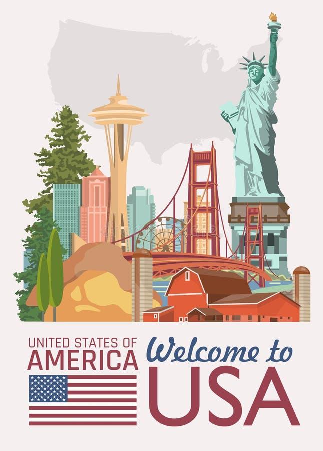Accueil vers les Etats-Unis Carte des Etats-Unis d'Amérique Illustration de vecteur au sujet de voyage illustration de vecteur