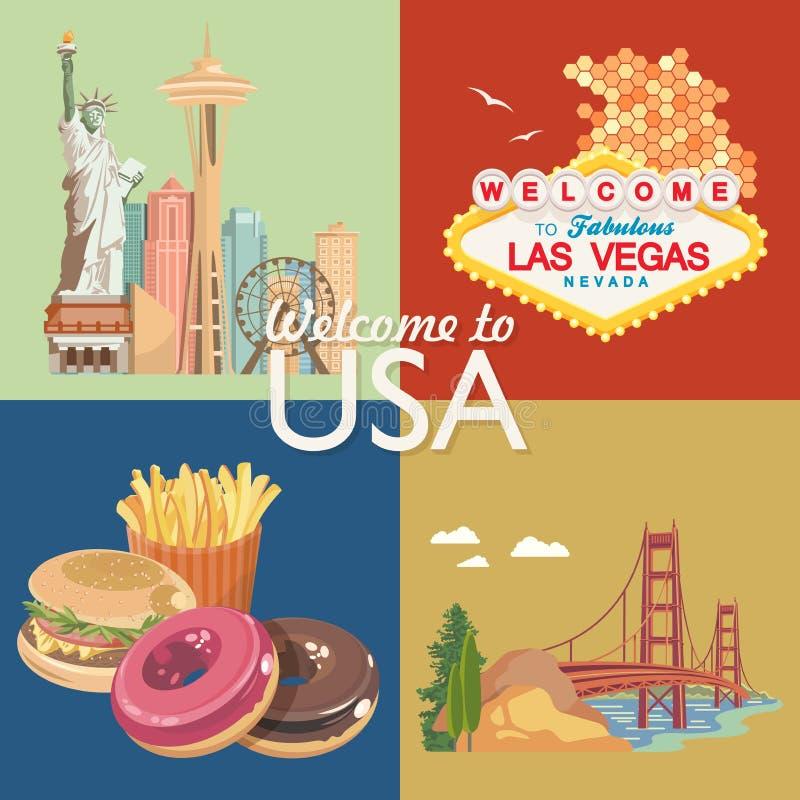 Accueil vers les Etats-Unis Ensemble de carte de voeux des Etats-Unis d'Amérique Illustration de vecteur au sujet de voyage illustration stock