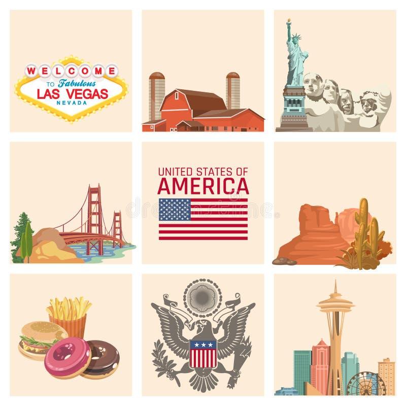 Accueil vers les Etats-Unis Ensemble des Etats-Unis d'Amérique Illustration de vecteur au sujet de voyage illustration libre de droits