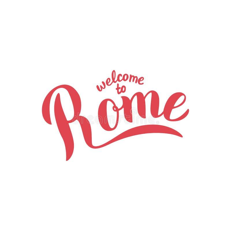 Accueil vers Rome marquant avec des lettres le texte de typographie Conception de publicité d'agence de voyages T-shirt, carte po illustration libre de droits