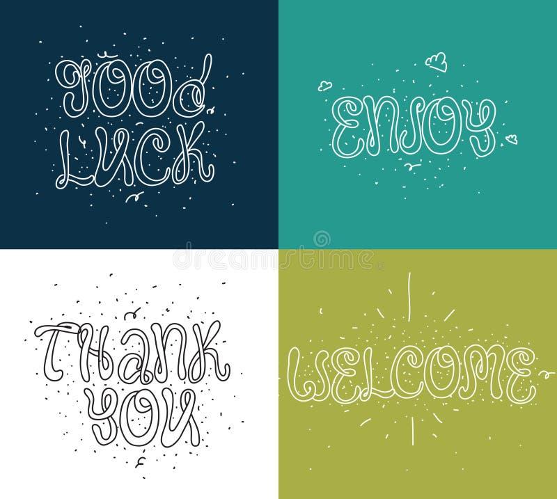 Accueillez, merci, bonne chance, appréciez Ensemble de calligraphie moderne et d'éléments tirés par la main Concept typographique illustration libre de droits