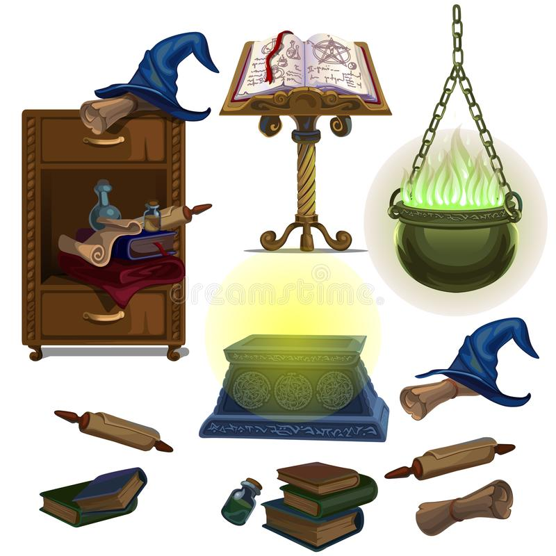 Acculite古老原稿,书,罐用魔药,巫婆帽子 库存例证