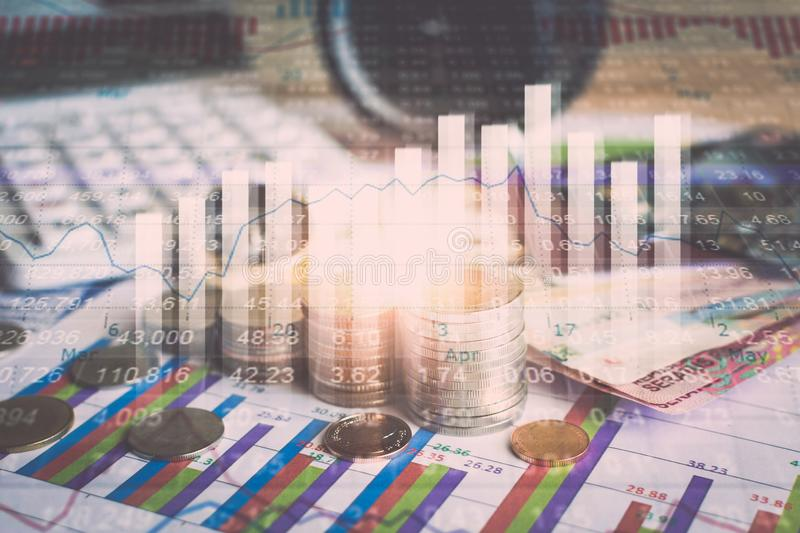 Accumulation of future funds with stock market information graph. Accumulation of future funds, Money for the future investment, Stock market information graph stock photos