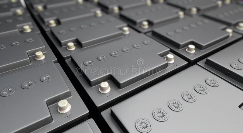 Accumulator battery. New 12v accumulator battery background stock illustration