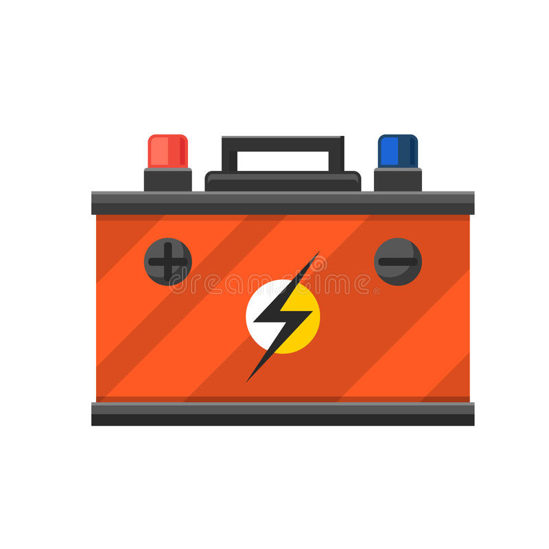 Accumulator battery energy power and electricity. Accumulator battery generation energy. Battery accumulator car auto parts electrical supply power isolated royalty free illustration