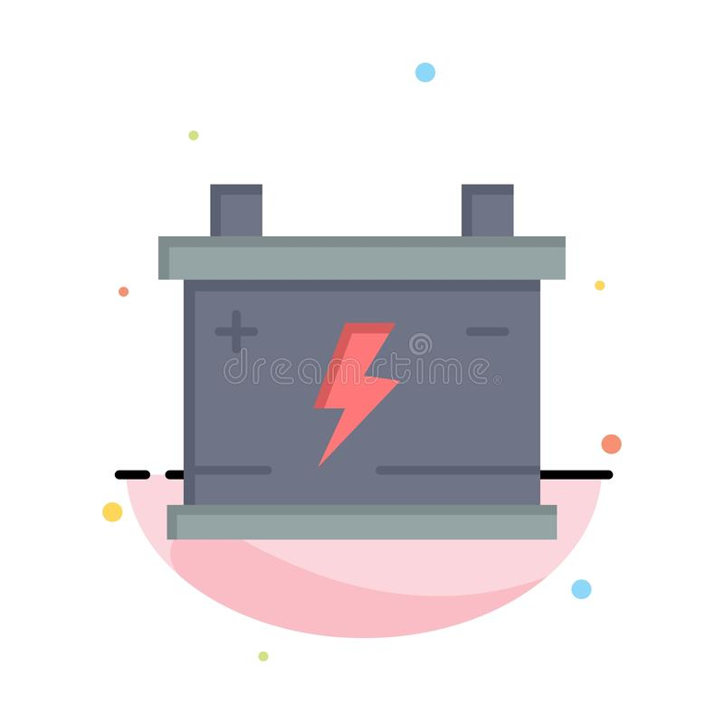 Accumulator, Battery, Power, Car Abstract Flat Color Icon Template vector illustration