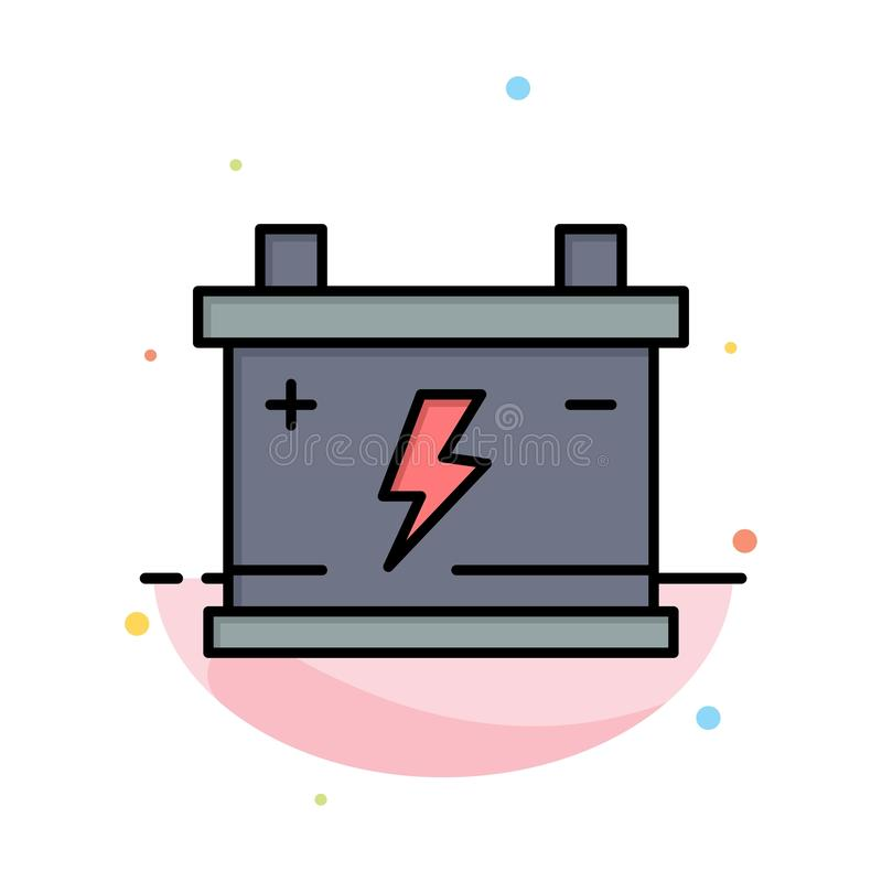 Accumulator, Battery, Power, Car Abstract Flat Color Icon Template royalty free illustration