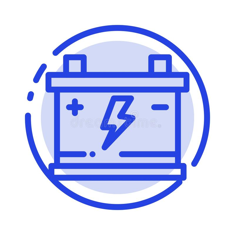 Accumulator, Battery, Power, Car Blue Dotted Line Line Icon royalty free illustration