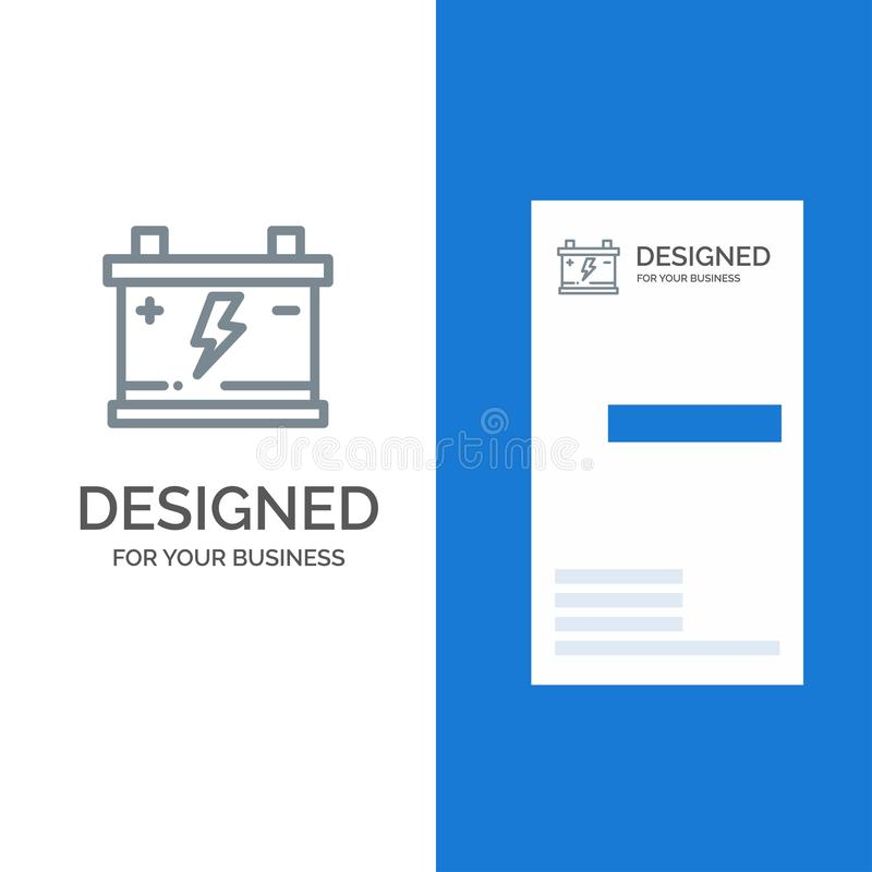 Accumulator, Battery, Power, Car Grey Logo Design and Business Card Template stock illustration