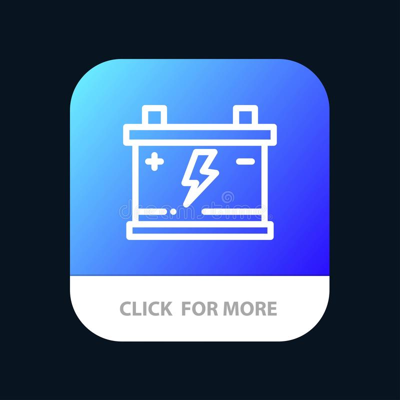 Accumulator, Battery, Power, Car Mobile App Button. Android and IOS Line Version royalty free illustration