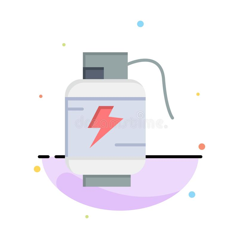 Accumulator, Battery, Power, Charge Abstract Flat Color Icon Template stock illustration