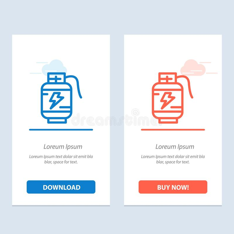 Accumulator, Battery, Power, Charge  Blue and Red Download and Buy Now web Widget Card Template vector illustration