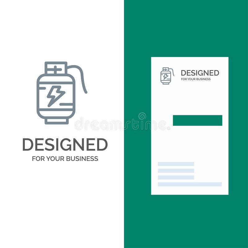 Accumulator, Battery, Power, Charge Grey Logo Design and Business Card Template royalty free illustration