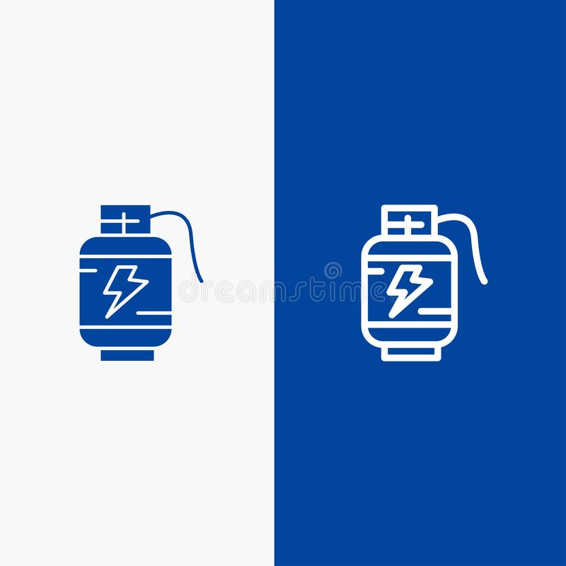 Accumulator, Battery, Power, Charge Line and Glyph Solid icon Blue banner Line and Glyph Solid icon Blue banner stock illustration