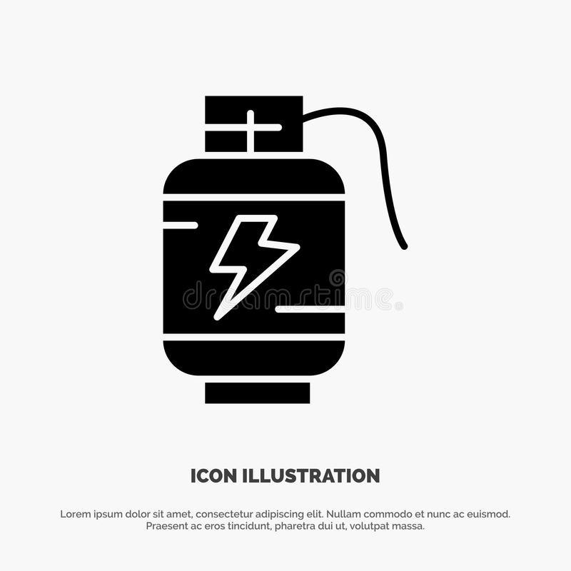 Accumulator, Battery, Power, Charge solid Glyph Icon vector royalty free illustration